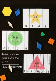 Looking for a fun way to help kids learn shapes? These eight free shape puzzles are an easy way to kick up the cool math factor. Learning Shapes for Toddlers Toddler Learning Activities, Kindergarten Activities, Kids Learning, Preschool Shape Activities, Shape Activities Kindergarten, 2d Shapes Activities, Maths Resources, Learning Games, Learning Spanish