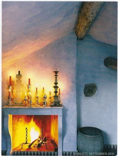 Paola Navone suggestion for a romantic fireplace! Rustic Style, Rustic Decor, Candles In Fireplace, Fireplace Mantles, Paola Navone, Diy Fire Pit, Fireplace Design, Moorish, Mediterranean Style