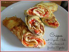 ich hab da mal was ausprobiert: Crêpes mit frischen Paprika und Paprika-Chili-Frischkäse