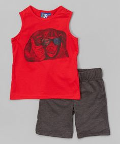 This Red Monkey Tank & French Terry Bermuda Shorts - Toddler & Boys is perfect! #zulilyfinds