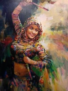 PUNJABI Lady Dancing Beautiful artwork of punjabi lady in celebration dance Rajasthani Painting, Rajasthani Art, Indian Women Painting, Indian Art Paintings, Indian Artist, Art Sketches, Art Drawings, Fashion Sketches, Composition Painting
