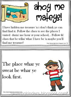 Perfect pirate treasure hunt for beginning of the school year (to introduce students to different areas of the school)
