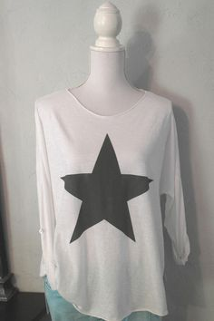 Impressionen T-Shirt weiß weiss Stern grau Longshirt Shirt 38 40 42
