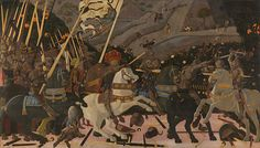THE BATTLE OF SAN ROMANO-Paolo Uccello, (c. 1396 – was a painter from Florence in Italy, during the time known as the Early Renaissance. He is famous as one of the first painters of the Italian Renaissance to use perspective in his pictures. Italian Renaissance Art, Renaissance Kunst, Renaissance Artists, Renaissance Paintings, Painted Horses, Giorgio Vasari, Tempera, National Gallery, Great Paintings