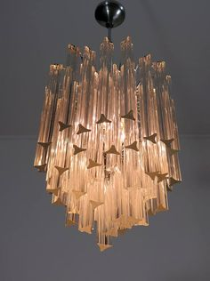 Vintage murano glass chandelier amarcord my ideal home pinterest 1960s italian vintage murano crystal chandelier lamp in venini style 55 prisms aloadofball Images