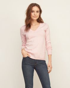 A flattering basic with a v neck, featuring ribbed trims and an icon at left chest, Easy Fit, Imported