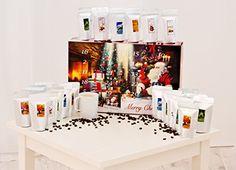 Adventskalender mit hochwertigem Kaffee aus aller Welt. (ROT) Gemahlene Bohnen. - Ideal auch als Geschenk oder Mitbringsel in der Vorweihnachtszeit.