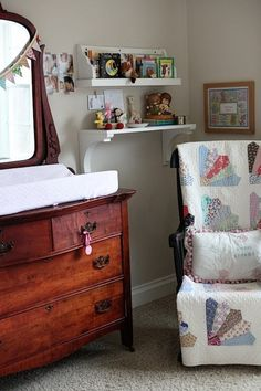 Tiffany Leigh Interior Design: Antique Changing Table  Like the idea of using an old quilt to cushion the rocking chair. have both!