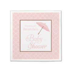 Pink Umbrella Baby Shower napkins Disposable Napkins