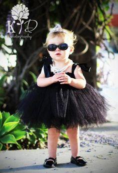 Audrey Hepburn Inspired Tutu Dress (LilDuckieArts) Barton Anna would rock this! Audrey Hepburn Kostüm, Audrey Hepburn Inspired, Old Halloween Costumes, First Halloween, Halloween Ideas, Toddler Costumes, Baby Costumes, Black Tutu, Black Satin