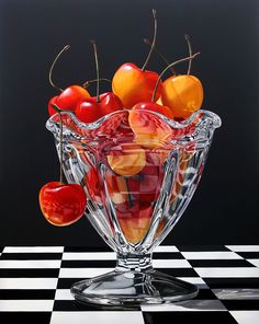 Artist: Daryl Gortner, {contemporary realism fruit food hyperreal cherries painting}