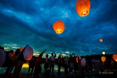 Wedding Wish Lanterns on the Chesapeake in Maryland: www.vesic.com