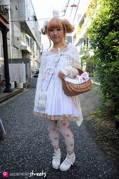 """Yukari, wearing dolly kei/fairytale style clothing in Harajuku, Tokyo. care how """"creative"""" you think it is, it's just wrong for anyone over Japanese Streets, Japanese Street Fashion, Tokyo Fashion, Harajuku Fashion, Kawaii Fashion, World Of Fashion, Japan Kultur, Party Fashion, Fashion Outfits"""