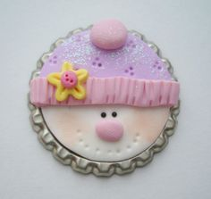 Snowman Polymer Clay Bottle Cap Bead by rainbowdayhappy on Etsy, $4.25