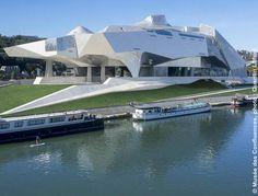 Musée des Confluences, Lyon - Coop Himme(l)blau - © Quentin Lafont French Architecture, Architecture Details, Confluence Lyon, Lyon City, Riverside Park, Two Rivers, Lyon France, New Museum, Himmelblau