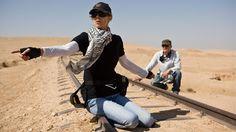 Filmmaker Kathryn Bigelow  on the set of the Hurtlocker