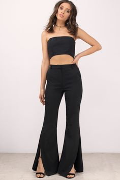 """Search """"Talk To Me Black Flared Pants"""" on Tobi.com! high waist waisted flare black pants bell bottoms slacks unique split hem long #ShopTobi #fashion #summer #spring #vacation Basic outfit simple easy chic fashionable stylish style fashion vacation travel essential capsule wardrobe must have casual comfy comfortable trendy spring summer shop buy cheap inexpensive ideas for women teens cute edgy closet fall college outfit outfits"""