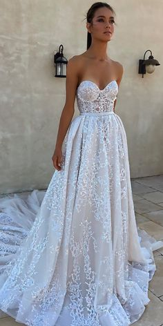 30 Beautiful Wedding Dresses By Top USA Designers ❤ beautiful wedding dresses a line lace strapless sweetheart neck with train berta ❤ See more: http://www.weddingforward.com/beautiful-wedding-dresses/ #weddingforward #wedding #bride