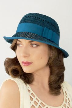 Available in a Variety of Colors  Cloche Hat - Blair in Peacock Blue Cute  Hats a55574aa5860