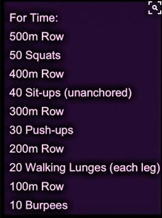 Not a bad Crossfit workout. Could also have done with equal distance of paced running instead of rowing. - would prefer to row but don't have a rowing machine available. Abdo Workout, Rower Workout, Endurance Workout, Strength Workout, Workout Plans, Workout Gear, Training Fitness, Fitness Tips, Health Fitness