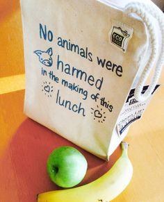Pas d'animaux nui sac à Lunch Vegan / recyclé coton par VeganPolice