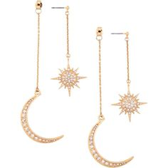 Rhinestone Moon Sun Earrings (4.96 AUD) ❤ liked on Polyvore featuring jewelry, earrings, earring jewelry, rhinestone earrings, rhinestone jewelry and rhinestone stud earrings