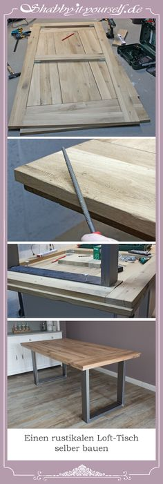 Build a rustic loft table yourself from an oak worktop. The wood I have artificially aged by brushing and sealed it finally with white hard wax oil. Build your own loft apartment table!