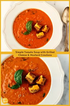 The classic combo of tomato soup and grilled cheese sandwich, with a twist! Fresh basil, honey and mustard powder make this tomato soup better than anything out of a can. Lunch Recipes, Appetizer Recipes, Soup Recipes, Salad Recipes, Tomato Soup Grilled Cheese, Mustard Recipe, Kid Friendly Meals, Vegetable Dishes, Easy Meals