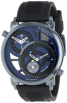 Stuhrling Original Men's 503.33X66 Symphony Eclipse Horizon Swiss Quartz Dual Time Blue Watch