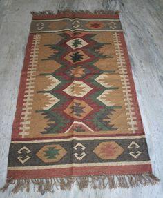 """Vintage Turkish Wool Jute Rug,Small Antalya Kilim Rug 36""""X60"""" Area Rug,Carpet #Turkish"""