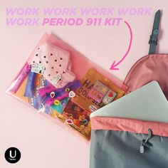 Any tips for the first day at a new job? Ours is to keep a period 911 kit in our computer bag. Make one for yourself with: cute underwear, tampons, pads, liners, gummy bears and chocolate!
