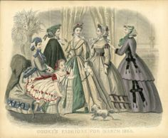 1865 Godey's Day ensembles all long sleeves, fitted bodices, full skirts, and a variety of lace caps. Seated,in plaid with trimmed basques matching trim around the skirt. Center has square neckline, braid and tassel trim on her dress and around her waist, and a layered skirt that opens center front to reveal a lace underskirt. Next, a simpler dress with a small collar, a wide belt, and minimal trim. Far right has a semi-fitted coat that matches her skirt with ribbon and tassel trim.
