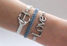 Antique Silver Bracelet, Love Bracelet, Anchor Bracelet
