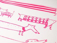 Pink Neon Dogs Screenprint-A4