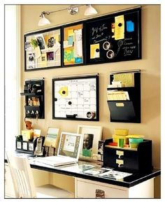 Office Organization at bottom of basement stairs. Calendar, Top 6 Board, Push Pin Board to visualize goals