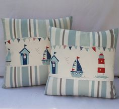 "Nautical Pillow Cover Beach Huts Handmade Fabric Cushion cover 14""x14"" and 16""x16"" Fryetts ""Maritime"" and Clarke & Clarke"" Nova Stripe"""