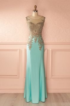 Yasmine - Aqua Sleeveless Embroidered Sequin Top Maxi Dress