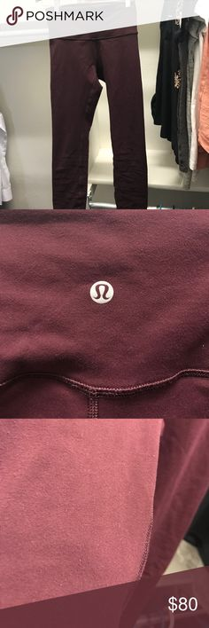 Lululemon high times pants size 6 Only washed on gentle and laid flat to dry. Excellent condition. Maroon color. Pic of crotch shoes stitching doing what sometimes lulu pants do--Nothing serious. lululemon athletica Pants Leggings