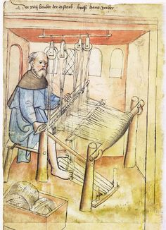 Illustration of a Weaver, Hans - From the House Books of the Nuremberg Twelve Brothers Foundation, records of a charitable foundation started in the city of Nuremberg in 1388. The foundation would take 12 poor and needy people and provide them with training in a trade. Starting around 1425 their books would contain one-page illustration of the people they had helped, usually giving their name and what profession they were in. - Nuremburg, Germany - c. 1425-1450