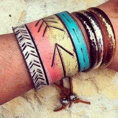 tribal cuff neon jewelry leather wristband bracelet by dgierat, $56.00