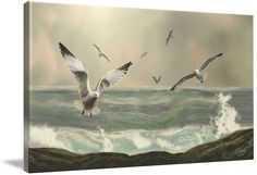 """""""Seabirds in the Surf"""" by I.M. Spadecaller: Digital painting created in photoshop. // Buy prints, posters, canvas and framed wall art directly from thousands of independent working artists at Imagekind.com."""