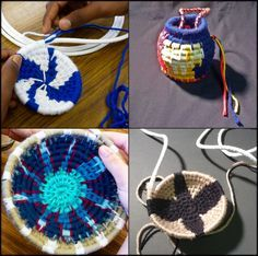 Radial Design - We used simple clothesline for the baskets' interior core structure, simultaneously wrapping it with colorful yarn to create patterns, and coiling from the center outwards to create the overall form. A paperclip was used to stitch the yarn through each coil and fasten it in place. Instead of yarn, raffia, sweetgrass, or even long pine needles can be used to achieve a more natural look.