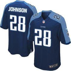 Men's Nike Tennessee Titans #28 Chris Johnson Limited Dark Blue Alternate Jersey