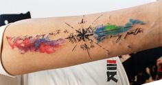 Compass and watercolor