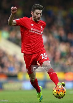 Adam Lallana of Liverpool in action during the Barclays Premier League match between Norwich City and Liverpool at Carrow Road on January 23, 2016 in Norwich, England.