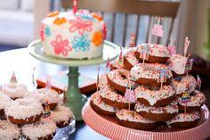 donut cake! I will definitely have a donut cake at my son's next birthday party.