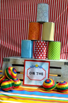 Boys Circus Themed Birthday Party Can Toss Game Ideas (Party Top Carnival Themes) Circus Carnival Party, Kids Carnival, Spring Carnival, Circus Theme Party, Carnival Birthday Parties, Party Themes, Carnival Ideas, 1st Birthday Party Games, School Carnival Games