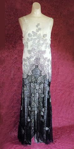 Embroidered chiffon evening dress attributed to Chanel, 1930s, from the Vintage Textile archives.