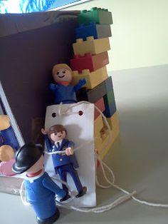 Speel het verhaal uit met duplo, lego, playmobil etc. // Flame: Creative Children's Ministry: Telling the story of the man lowered through the roof.