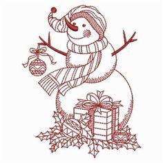 Redwork Snowman 1